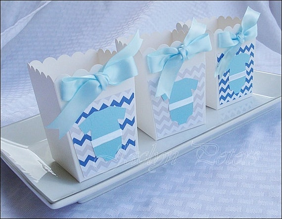 Items Similar To Boys Baby Shower, Popcorn Favor Boxes, Chevron First  Birthday Party, Grey And Light Blue, Satin Bow, Dessert Bar Decor, Candy Box,Set  Of 24 ...
