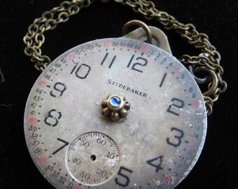 Urban Debris Steampunk Pocket Watch Face Necklace Pendant Z 19