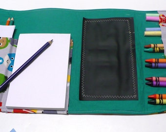 Activity Wallet Crayon Roll Chalkboard Mat - holds crayons, chalk, pencils and more -  Superheroes!