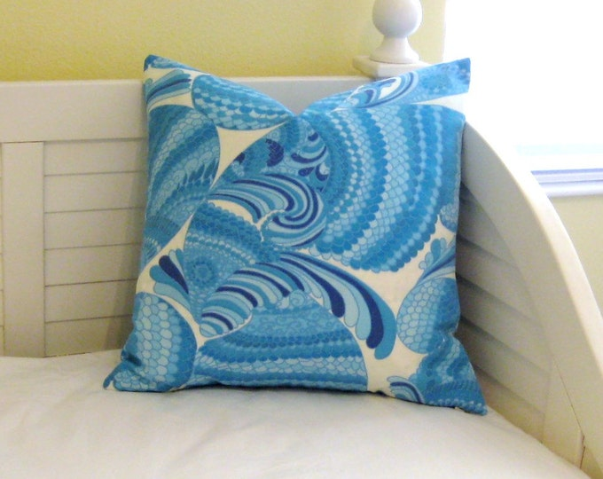 Trina Turk for Schumacher Pisces in Pool Abstract Fish Design Indoor Outdoor Pillow Cover