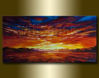 Original Sunset over the Sea Seascape Painting Oil on Canvas Textured Palette Knife Abstract Modern Art 18X36 by Willson