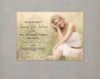 "Graduation Announcement Card, 4x5.5, Graduation Announcements, the ""Marianna"""