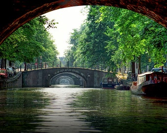Amsterdam Canal and Bridges in the Dutch Netherlands Holland by the Amstel River A Fine Art European Landscape Photograph