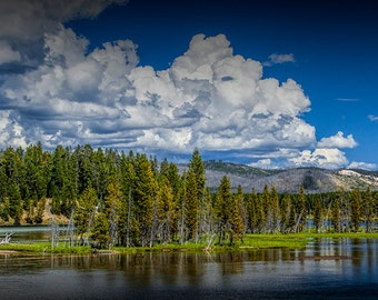 Yellowstone River and Cloud Formation in the Yellowstone National Park in Wyoming No. 6568 - A Nature River Landscape Photograph