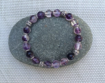 Stretch Bracelet - Your Choice Purple Fluorite or Green Jade