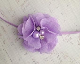 Lavender Baby Headband, Newborn Headband, Lavender Flower Headband, Baby Girl Headband