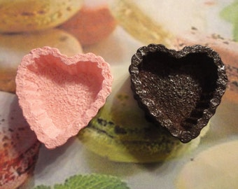 Kawaii heart tart shell decoden deco diy cabochons   2 pcs---USA seller