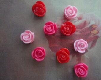 Kawaii mini mini rose cabochon decoden deco diy  9 pcs--USA seller