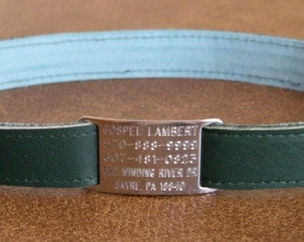 Leather Custom Tag Collar for Greyhounds - Spruce Green