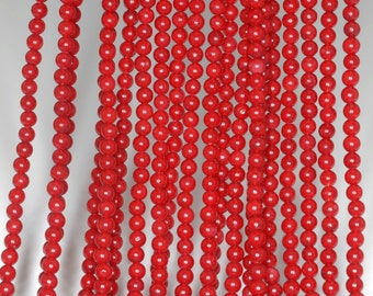 "3mm Red Coral Round beads full strand 16"" Loose Beads P142704"