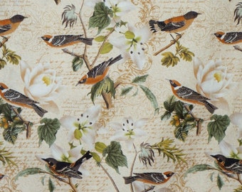 Natural Bird Collage Print Pure Cotton Fabric--By the Yard