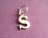 Sterling Silver Alphabet Letter s Initial Charm in Typewriter Style