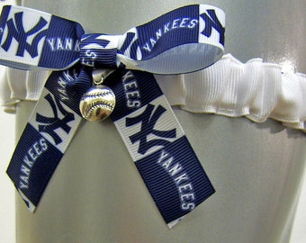 New York Yankees Wedding Garter Lingerie Game Day Leg Garter with Baseball Charm