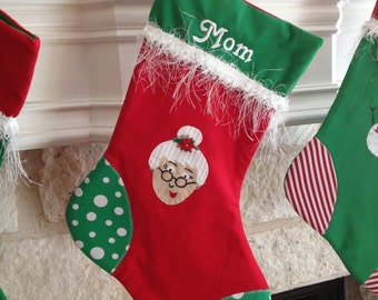 Christmas Socking with hand embroidered Mrs Claus