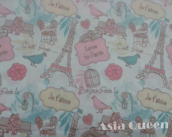 Cotton fabric - Love in Paris - half yard - 3 colors to choose, paris fabric, patchwork fabric, Paris,coupon codes :  5YEAR  to save 20% off