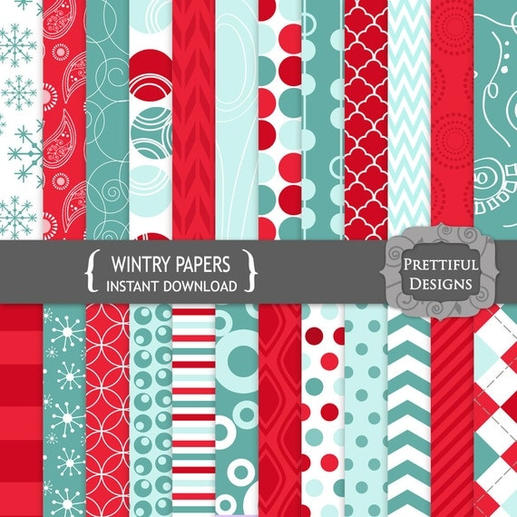 50% off SALE Digital Scrapbooking Papers - Wintry (770)