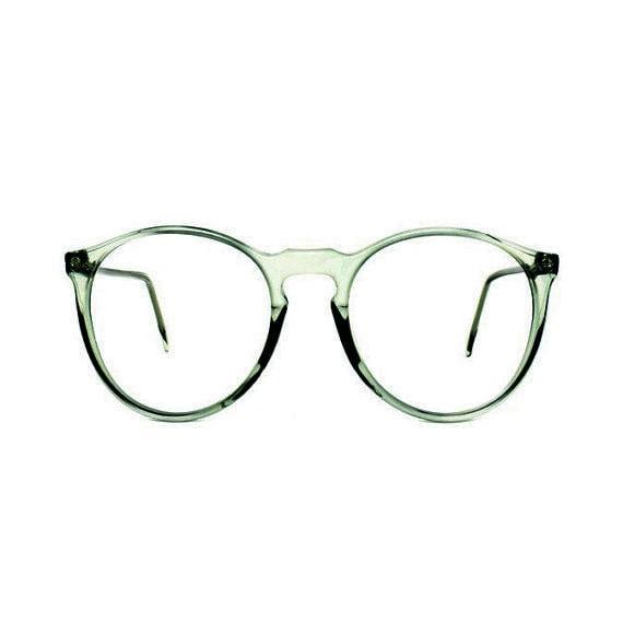 Jade Green Eyeglass Frames : dark Jade Green Round Vintage Eyeglasses : transparent 80s