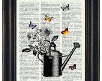 BOGO SALE Dictionary Art Print2 Watering Can and Butterflies Print  Dictionary Art Dictionary Print HHP Original Concept and Design