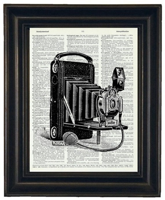 Antique Camera Dictionary Art Print Book Page Vintage Book Dictionary Page Print