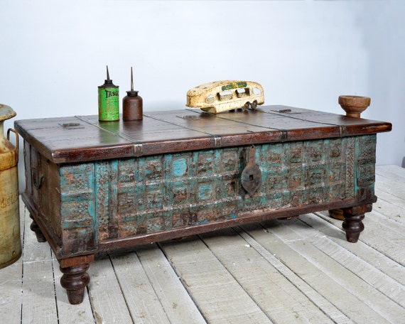 Reclaimed trunk coffee table antique indian intense blue Indian trunk coffee table