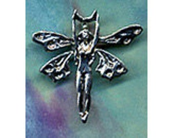 Fae Winged Lunar Goddess Pendant Sterling Silver Jewelry   FAY040