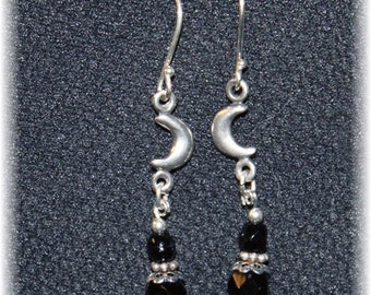 Waxing Waning Moon Symbolic Earrings Sterling Silver and Black Crystals 814SyE030