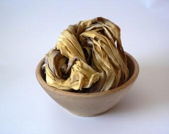 SALE Handpainted Upcycled Cotton Ribbon Yarn- Honey 33 yards