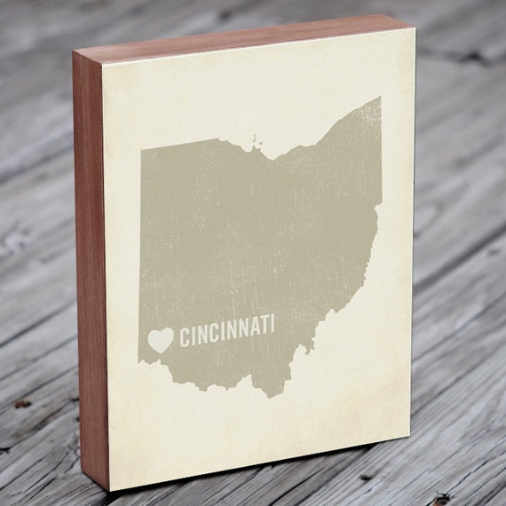 Cincinnati Art Print - Ohio Art - Cincinnati Art - Cincinnati Ohio - I Love Cincinnati - Wood Block Art Print