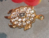 CLEARANCE Signed LIA Rhinestone Turtle Brooch, Clear Stones Accents, Gold Tone