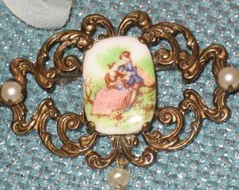 Porcelain Lovers Filigree Brooch, Antique Gold, Cameo