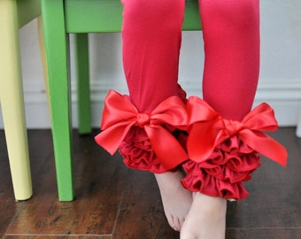 Red Leggings with Full Ruffles and Large Bows / Girls Leggings / Ruffle Leggings for Girls