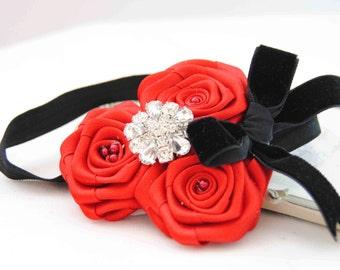 Elegant Red Roses Headband with Beautiful Roses and Velvet Bow on Elastic Headband Baby Girls Headband