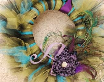 Picky Peacock Signature Wreath- Initial Tu-Tu Wreath - MADE TO ORDER
