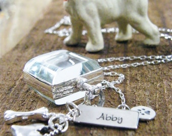 pet rembrance locket sterling silver keepsake with hand stamped personalized tags pet brag necklace