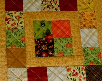 Fall Quilted Table Topper, Country Table Runnerin Fall Colors, Primitive Table Topper, Table Quilt, Patchwork, Scrappy, Fall Autumn Colors