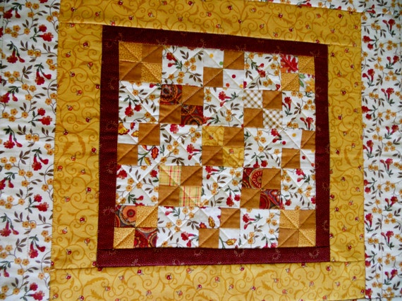 Fall Autumn Quilted Table Topper, Table Runner, Thanksgiving Runner, Primitive, Farmhouse, Gold Brown Ivory, Four Patch