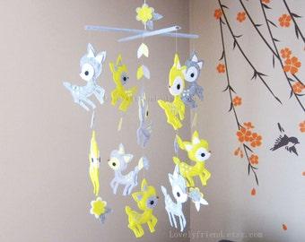 "Baby Mobile - Nursery Mobile - Baby Deer Crib Mobile - ""Yellow and Grey Deers Decorative Mobile"" - Crib Mobile (Custom Color Available)"