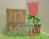 SPRING, Pink & Blue, Word Blocks Set