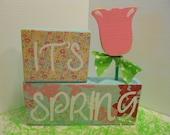 SPRING, Pink & Blue, Word Blocks Set