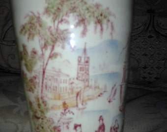 Royal Staffordshire Vintage Cup of a c1829 Engraving of a Tropical Harbor or Port of Call