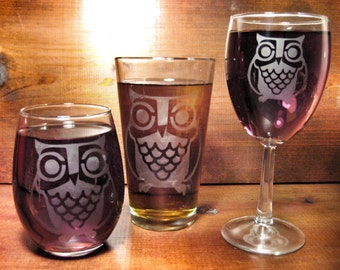 Retro Owl Etched Glass