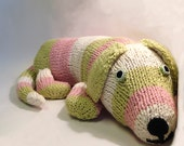 Dog Stuffed Animal Short Striped Pink Green Knit Organic Cotton Yarn