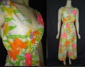 Free Shipping Bright Floral HIPPIE Vintage 1970's PALAZZO Pant Outfit Maxi Dress XS S