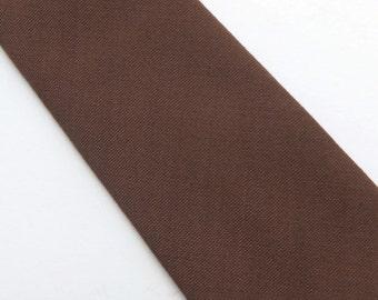 Vintage Skinny 60s Tie Necktie Solid Camel Brown Dacron Wembley