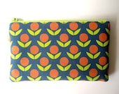 Kokka Japanese Fabric Stamped Ellen Luckett Baker - Circle Flowers, Orange / Blue, Geometric Flowers. Purse, Pencil Case, Pencil Pouch.