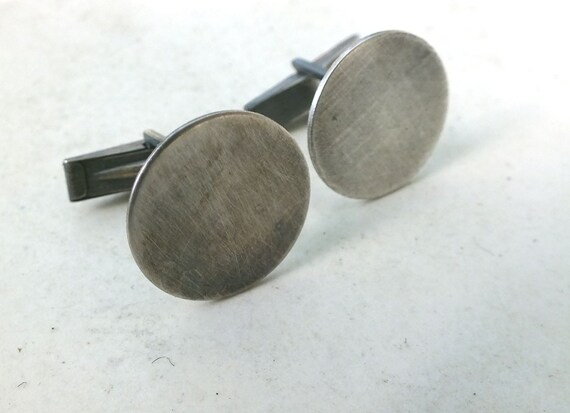 Satin Finish Sterling Silver Cuff links---Antiqued Finish