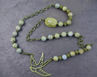 African Opal, Scarab and Lark Necklace