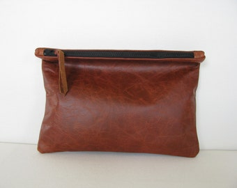 Clutch Bag / Cosmetic Bag / Hand Bag/ ipad case/ sleeve---Distressed Leather