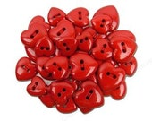 Red Hearts Plastic Buttons/Two Holes Buttons/ Sewing Supplies/DIY Craft supplies /Novelty Buttons / Party supplies