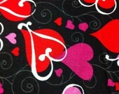 Looped Hearts on Black Cotton Fabric/Sewing Craft  supplies/Apparel Fabric/ Quilt 100% Cotton Fabric/Valentine's Print